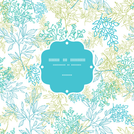 natural color: Vector scattered blue green branches frame seamless pattern background with hand drawn elements