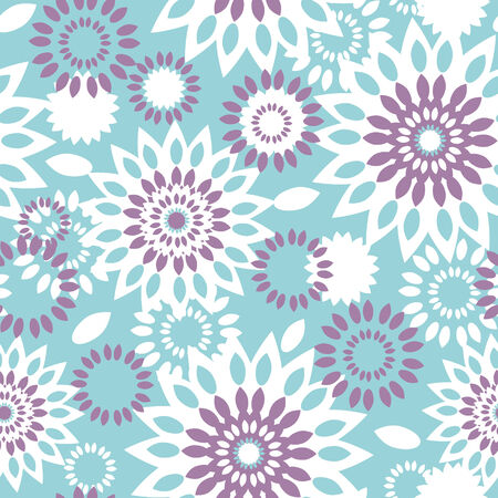 textile image: purple and blue floral abstract seamless pattern background