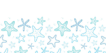 vector starfish blue line art horizontal seamless pattern background Vector