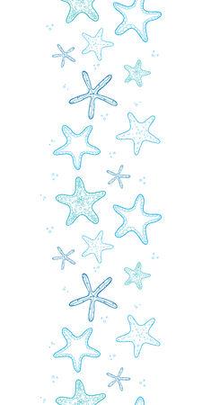 vector starfish blue line art vertical seamless pattern background Vector
