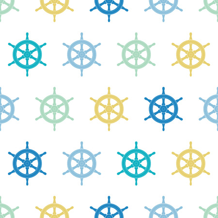 navy blue background: vector nautical ship wheels colorful seamless pattern background