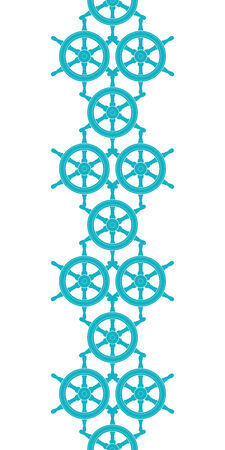 Nautical ship wheels abstract blue vertical seamless pattern background