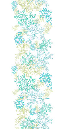 Vector scattered blue green branchesl vertical seamless pattern background with hand drawn elements Vector