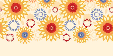 textile image: Vector warm vibrant floral abstract horizontal seamless pattern background Illustration