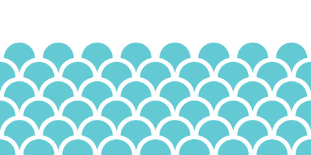 vector abstract blue fishscale horizontal seamless pattern background Vector