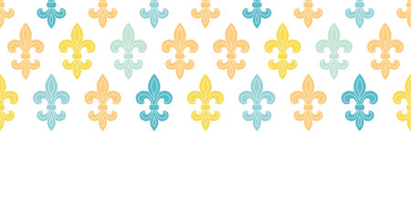 vector gold and blue lily horizontal seamless pattern background Vector