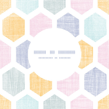 Vector abstract colorful honeycomb fabric textured frame seamless pattern background Vettoriali