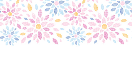 vector abstract textile colorful flowers horizontal seamless pattern background Vector