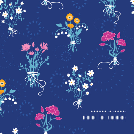 Vector fresh flower bouquets frame corner pattern background Vector
