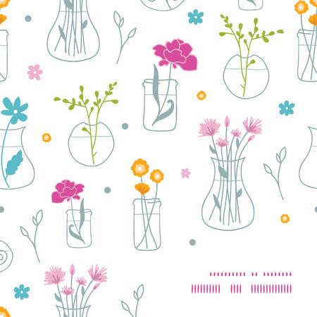 vase: vector fresh flowers in vases frame corner pattern background
