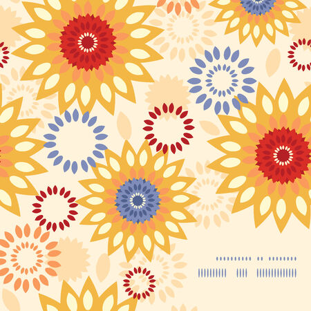 Vector warm vibrant floral abstract frame corner pattern background Vector
