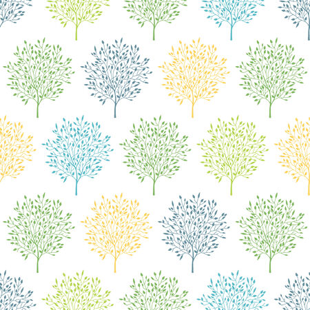 reapeating: vector summer trees colorful seamless pattern background Illustration