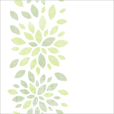 Fabric textured abstract leaves vertical seamless pattern background Vector