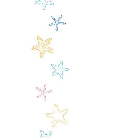 starfish colorful line art vertical seamless pattern background Иллюстрация