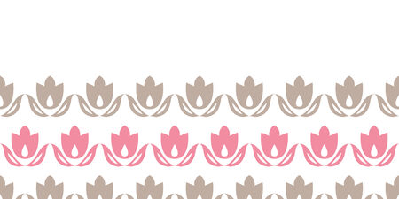 pink and brown tulips stripes horizontal seamless pattern background Vector