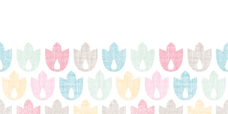 Abstract textile geometric tulips colorful horizontal seamless pattern background Vector