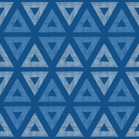 Abstract textile blue triangles ikat seamless pattern background Vector