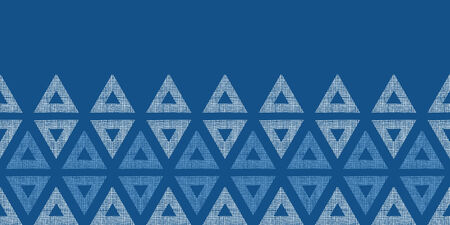 Abstract textile blue triangles ikat horizontal seamless pattern background Vector