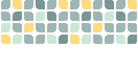 horizontal: Abstract gray yellow rounded squares horizontal seamless pattern background