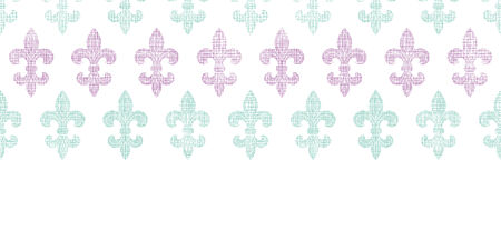 Abstract textile fleur de lis stripes horizontal seamless pattern background Vector