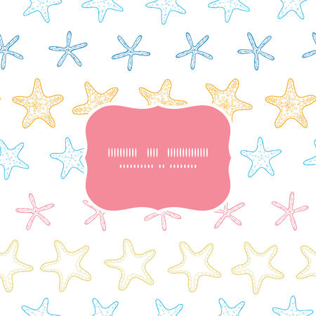 Starfish colorful line art frame seamless pattern background Vector
