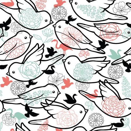 Birds silhouettes seamless pattern background