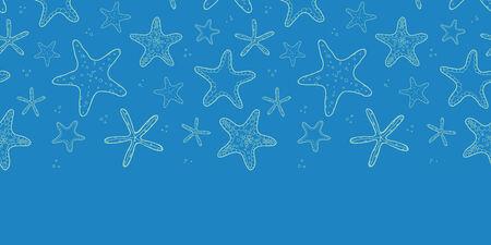 Starfish blue texture horizontal seamless pattern background Vector