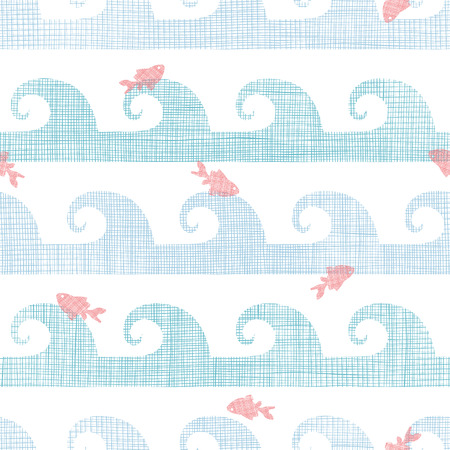 Abstract textile fish among waves seamless pattern background Vector