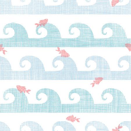 goldfish jump: Abstract textile fish among waves seamless pattern background Illustration