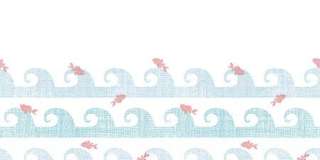 goldfish jump: Abstract textile fish among waves horizontal seamless pattern