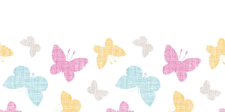 Textile textured colorful butterflies horizontal seamless pattern background Vector