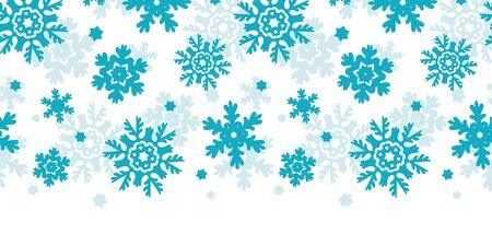 Blue Frost Snowflakes Horizontal Seamless Pattern Background Vector