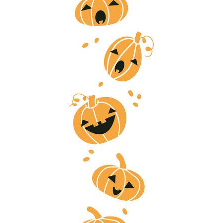 Smiling Halloween pumpkins vertical seamless pattern background Vector