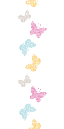 gray: Textile textured colorful butterflies vertical seamless pattern background Illustration