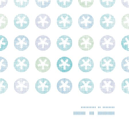 Abstract Textile Snowflakes Dots Horizontal Frame Seamless Pattern Background Vector