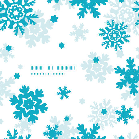 Blue Frost Snowflakes Frame Seamless Pattern Background