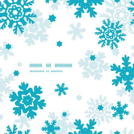Blue Frost Snowflakes Frame Seamless Pattern Background Stok Fotoğraf - 30220672