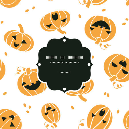 Smiling Halloween pumpkins frame seamless pattern background Vector