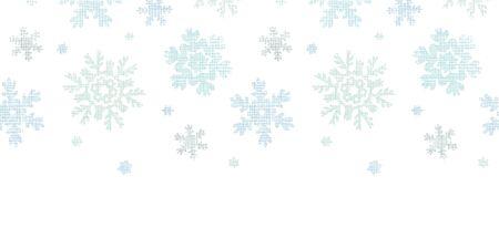 Blue Christmas Snowflakes Textile Texture Horizontal Seamless Pattern Background Vector