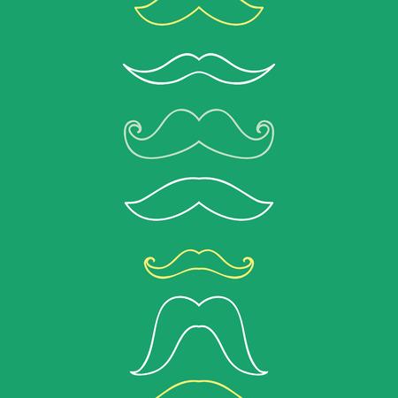 Line art mustaches vertical seamless pattern background Vector