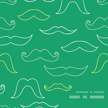 Line art mustaches frame corner pattern background Vector