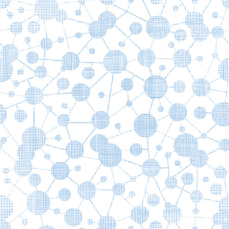 Blue molecules testile texture seamless pattern background Vector