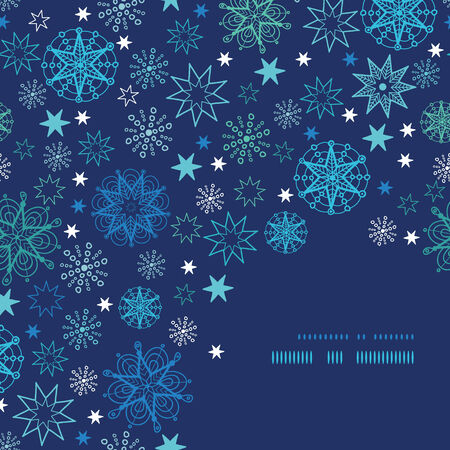 Night snowflakes frame corner pattern background Çizim