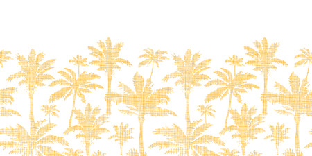 seamless: vector palm trees golden textile horizontal seamless pattern background