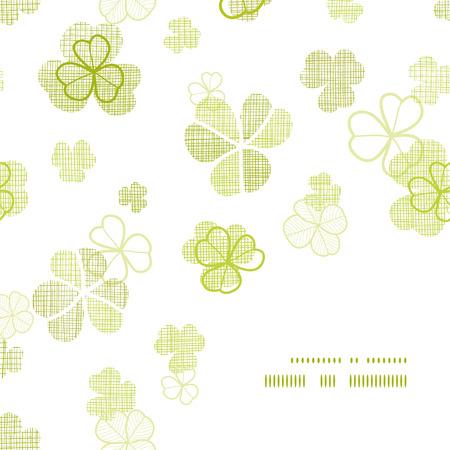 clover textile textured line art frame corner pattern background Vector