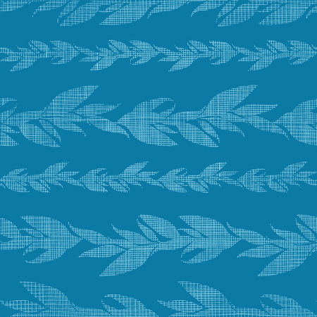 Blue vines stripes textile textured seamless pattern background Vector
