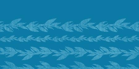 Blue vines stripes textile textured horizontal seamless pattern background Vector