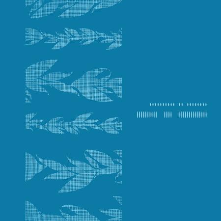 Blue vines stripes textile textured vertical frame seamless pattern background Vector