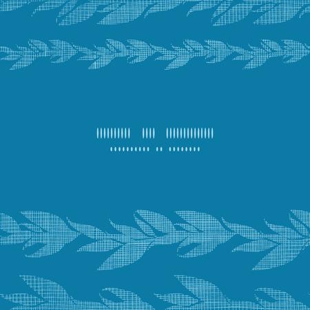 Blue vines stripes textile textured horizontal frame seamless pattern background Vector
