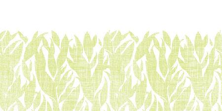 bush mesh: Green leaves textile texture horizontal seamless pattern background Illustration